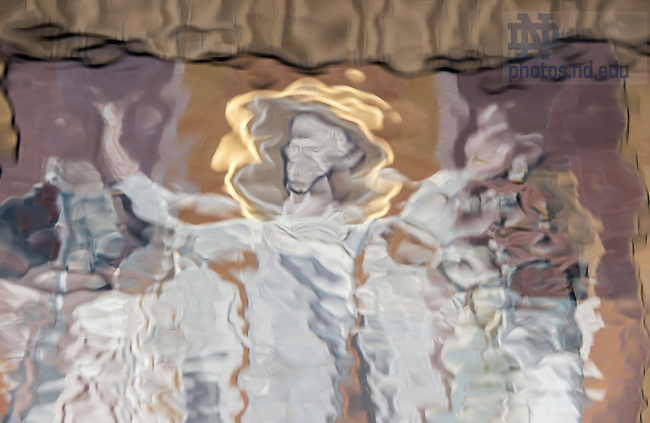 Oct. 8, 2014; The Word of Life Mural, commonly known as Touchdown Jesus, reflected in the reflecting pool. (Photo by Matt Cashore/University of Notre Dame)