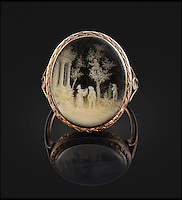 BNPS.co.uk (01202 558833)<br /> Pic: Osenat/BNPS<br /> <br /> A gold ring given by a youthful Napoleon Bonaparte to his first love has been unearthed by her family over 200 years later.<br /> <br /> The bashful teenager made the romantic gesture towards Caroline du Colombier, who he courted when he was 18-years-old. <br /> <br /> The pair became acquainted when Napoleon was stationed with the French army near her family's country estate in the late 1780s.<br /> <br /> The gold ring set with a carved ivory scene of people cherry-picking will be sold in Paris on March 26, when it is estimated to sell for &pound;13,000.