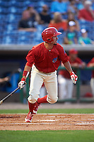 Clearwater Threshers right fielder Herlis Rodriguez (33) at bat during a game against the Charlotte Stone Crabs on April 12, 2016 at Bright House Field in Clearwater, Florida.  Charlotte defeated Clearwater 2-1.  (Mike Janes/Four Seam Images)