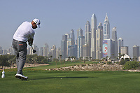 Thomas Bjorn (DEN) on the 8th tee during Round 3 of the Omega Dubai Desert Classic, Emirates Golf Club, Dubai,  United Arab Emirates. 26/01/2019<br /> Picture: Golffile | Thos Caffrey<br /> <br /> <br /> All photo usage must carry mandatory copyright credit (© Golffile | Thos Caffrey)