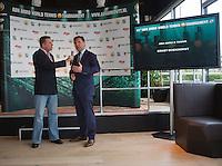 09-01-14, Netherlands, Rotterdam, TC Kralingen, ABNAMROWTT Press-conference, ABNAMRO'S Ernst Broekhorst explained the new three year continuation of the tournament, left Edward van Cuilenborg <br /> Photo: Henk Koster