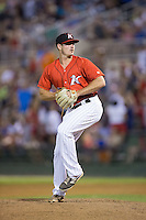Kannapolis Intimidators relief pitcher Dylan Barrow (17) in action against the Hagerstown Suns at Kannapolis Intimidators Stadium on July 4, 2016 in Kannapolis, North Carolina.  The Intimidators defeated the Suns 8-2.  (Brian Westerholt/Four Seam Images)