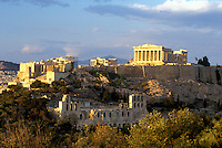 Athens, Greece, Europe, View of the Acropolis from Filopappos Hill.