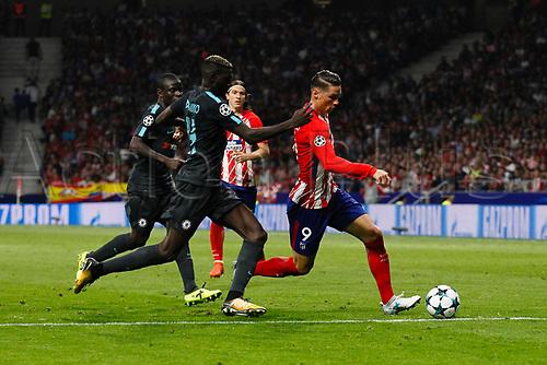 27th September 2017, Wanda Metropolitano, Madrid, Spain; UEFA Champions League, Atletico Madrid versus Chelsea; Fernando Torres (9) Atletico de Madrid breaks away from Tiemoue Bakayoko (14) Chelsea