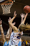 GRAND RAPIDS, MI - MARCH 18: Hannah Hackley (20) of Amherst College shoots for a difficult point during the Division III Women's Basketball Championship held at Van Noord Arena on March 18, 2017 in Grand Rapids, Michigan. Amherst College defeated Tufts University 52-29 for the national title. (Photo by Brady Kenniston/NCAA Photos via Getty Images)
