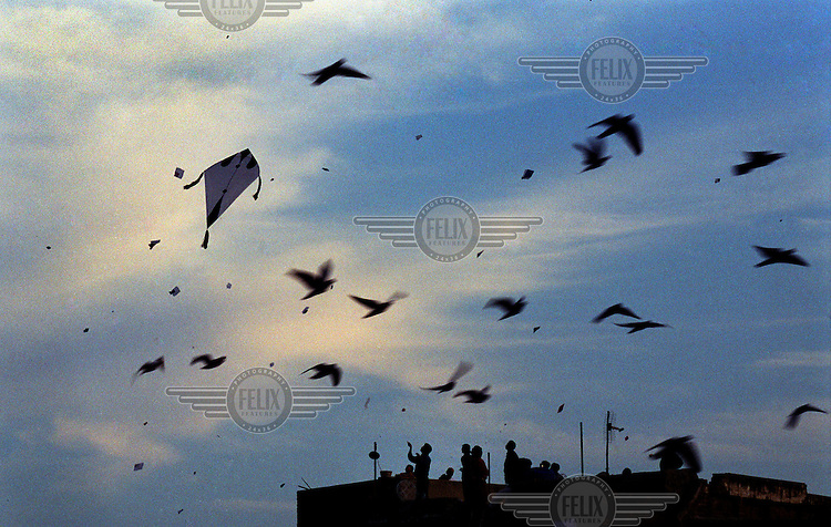 Kite flying at dusk from a rooftop in the Old City of Lahore. Pakistan's biggest annual festival is Lahore's spring celebration of Basant. Originally a Hindu festival which culminated in a weekend of non-stop kite flying, kite flying has recently been banned for safety reasons. Millions of people took to the city's parks and rooftops, cutting their opponents out of the sky with their kite strings, which were often coated with ground glass or metal filings. These proved fatal to motorcyclists, many having their throats cut by fallen strings. Other dangers include electrocution, and falls from roofs and traffic accidents as people, particularly youngsters, gaze skywards and pursue falling kites with long poles. Bans on kite flying have proved hard to thousands of people who made the paper and cane kites, and the coated strings that endanger lives.