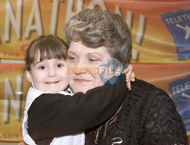 """A Special Hug for Nanny......Shannon Casey, Avondale gives her Nanny Christina Trimble, Cedarwood a huge hug for taking part in the """"Granathon"""" in aid of the people in need telethon."""