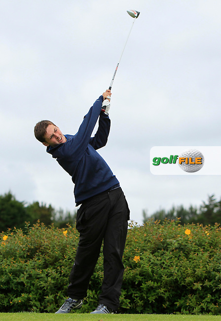 Jack Small (Elm Park) on the 18th tee during R1 of the 2016 Connacht U18 Boys Open, played at Galway Golf Club, Galway, Galway, Ireland. 05/07/2016. <br /> Picture: Thos Caffrey | Golffile<br /> <br /> All photos usage must carry mandatory copyright credit   (&copy; Golffile | Thos Caffrey)