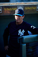 Tampa Tarpons hitting coach Eric Duncan (35) in the dugout during a game against the Bradenton Marauders on April 25, 2018 at LECOM Park in Bradenton, Florida.  Tampa defeated Bradenton 7-3.  (Mike Janes/Four Seam Images)