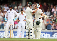 Steven Smith of Australia is congratulated by Brad Haddin after reaching his century - England vs Australia - 2nd day of the 5th Investec Ashes Test match at The Kia Oval, London - 22/08/13 - MANDATORY CREDIT: Rob Newell/TGSPHOTO - Self billing applies where appropriate - 0845 094 6026 - contact@tgsphoto.co.uk - NO UNPAID USE