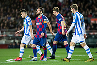 7th March 2020; Camp Nou, Barcelona, Catalonia, Spain; La Liga Football, Barcelona versus Real Sociedad; Lionel Messi of FC Barcelona rues a good scoring change being missed