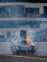 Oct 2, 2016; Mohnton, PA, USA; Fire comes from the car of NHRA funny car driver Jim Campbell after an engine explosion during the Dodge Nationals at Maple Grove Raceway. Mandatory Credit: Mark J. Rebilas-USA TODAY Sports