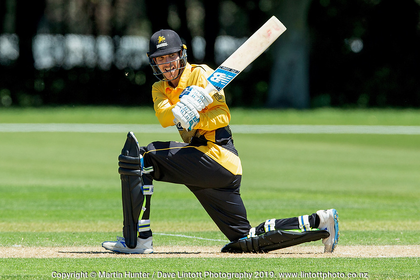 Andrew Fletcher bats. Wellington Firebirds v Auckland Aces Ford Trophy One Day Match Round Three at Lincoln No.3 in Lincoln, New Zealand on Monday, 25 November 2019. Photo: Martin Hunter / lintottphoto.co.nz