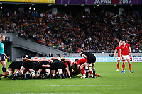 1st November 2019, Tokyo, Japan;  Wales put into the scrum;  2019 Rugby World Cup 3rd place match between New Zealand 40-17 Wales at Tokyo Stadium in Tokyo, Japan.  - Editorial Use