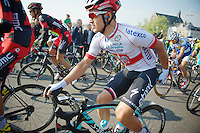 Polish National Champion Michal Kwiatkowski (POL/OPQS) getting his bibs 'sorted' before the actual start of the race<br /> <br /> Amstel Gold Race 2014