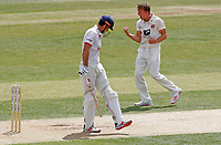 Matthew Milnes of Kent (right) celebrates taking the wicket of Sir Alastair Cook during Essex CCC vs Kent CCC, Bob Willis Trophy Cricket at The Cloudfm County Ground on 2nd August 2020