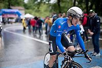 Maglia Azzurra / KOM leader Giulio Ciccone (ITA/Trek-Segafredo)<br /> <br /> Stage 9 (ITT): Riccione to San Marino (34.7km)<br /> 102nd Giro d'Italia 2019<br /> <br /> ©kramon