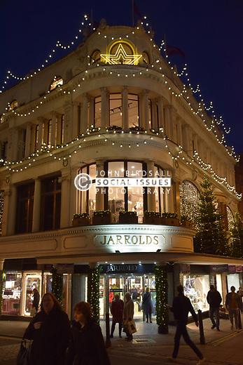 Jarrolds department store lit up with Christmas lights, Norwich UK November 2019