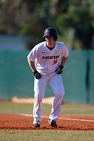 Haverford Fords Owen Plambeck (16) leads off first base during a game against the Wooster Fighting Scots on March 17, 2018 at Terry Park in Fort Myers, Florida.  Haverford defeated Wooster 1-0. (Mike Janes/Four Seam Images)