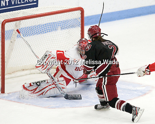 Kerrin Sperry (BU - 1), Josephine Pucci (Harvard - 2) - The Boston University Terriers defeated the Harvard University Crimson 5-2 on Monday, January 31, 2012, in the opening round of the 2012 Women's Beanpot at Walter Brown Arena in Boston, Massachusetts.