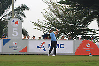Alexander Levy (Europe) on the 5th tee during the Saturday Foursomes of the Eurasia Cup at Glenmarie Golf and Country Club on the 13th January 2018.<br /> Picture:  Thos Caffrey / www.golffile.ie