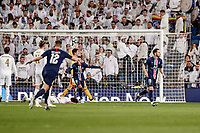 26th November 2019; Estadio Santiago Bernabeu, Madrid, Spain; UEFA Champions League Football, Real Madrid versus Paris Saint Germain; Pablo Sarabia (PSG)  celebrates his goal which made it 2-2 in the 83rd minute  - Editorial Use