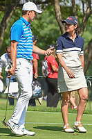 LPGA player Lorena Ochoa (MEX) shares a chat with Jordan Spieth (USA) as they depart the 17th tee as she prepares to golf the last two holes with Jordan Spieth (USA) during the preview of the World Golf Championships, Mexico, Club De Golf Chapultepec, Mexico City, Mexico. 2/28/2018.<br /> Picture: Golffile | Ken Murray<br /> <br /> <br /> All photo usage must carry mandatory copyright credit (&copy; Golffile | Ken Murray)