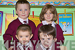Junior Infants from Lyracompana N.S started their school days last week. B L-R Conor McMahon, Katie Murphy F L-R Darragh Long, David Roche.