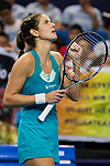 Julia Goerges of Germany celebrates winning the singles Round Robin match of the WTA Elite Trophy Zhuhai 2017 against Kristina Mladenovic of France at Hengqin Tennis Center on November  03, 2017 in Zhuhai, China.  Photo by Yu Chun Christopher Wong / Power Sport Images