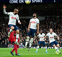 Tottenham's Japhet Tanganga defends the ball after an attempt from Liverpool<br /> <br /> Photographer Stephanie Meek/CameraSport<br /> <br /> The Premier League - Tottenham Hotspur v Liverpool - Saturday 11th January 2020 - Tottenham Hotspur Stadium - London<br /> <br /> World Copyright © 2020 CameraSport. All rights reserved. 43 Linden Ave. Countesthorpe. Leicester. England. LE8 5PG - Tel: +44 (0) 116 277 4147 - admin@camerasport.com - www.camerasport.com
