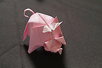 OrigamiUSA Convention 2015 Exhibition. OBC - Origami by Children - section. Flying Pig designed and folded by Mark Gillespie, 18, NJ.