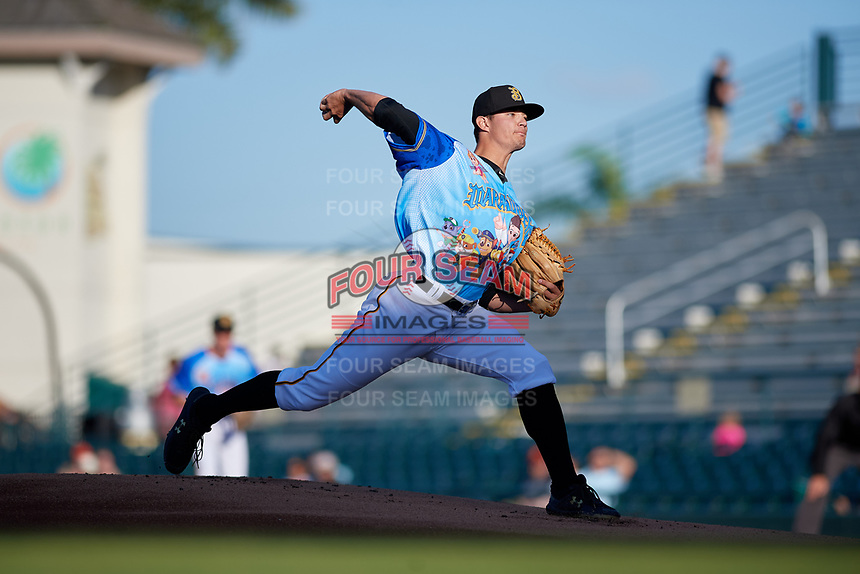 Bradenton Marauders starting pitcher Aaron Shortridge (24) during a Florida State League game against the Jupiter Hammerheads on April 20, 2019 at LECOM Park in Bradenton, Florida.  Bradenton defeated Jupiter 3-2.  (Mike Janes/Four Seam Images)