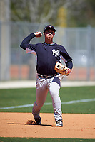 New York Yankees Drew Bridges (41) during practice before a minor league Spring Training game against the Toronto Blue Jays on March 22, 2016 at Englebert Complex in Dunedin, Florida.  (Mike Janes/Four Seam Images)