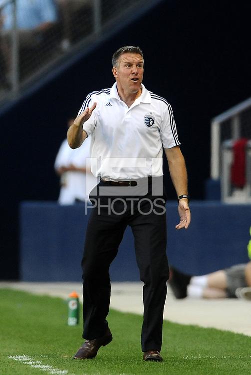 Sporting KC Head Coach Peter Vermes disputes a call... Sporting KC defeated Vancouver Whitecaps 2-1 at LIVESTRONG Sporting Park, Kansas City, Kanas.