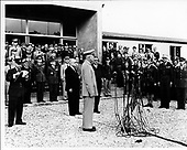 Marlay, France - July 23, 1951 -- Opening Day at new Supreme Headquarters Allied Powers Europe (SHAPE) at Marlay, France on 23 July, 1951.  To Eisenhower's left id President of the Frence Fourth Republic, Vincent Auriol and Jules Moch, French Minister of Defense..Credit: U.S. Army / CNP