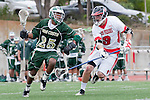 Palos Verdes, CA 04/20/10 - Tajee Mobley (Mira Costa #25) and Tommy O'Hern (Palos Verdes #9) in action during the Mira Costa-Palos Verdes boys lacrosse game.