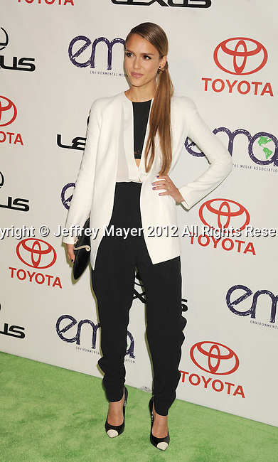 BURBANK, CA - SEPTEMBER 29: Jessica Alba arrives at the 2012 Environmental Media Awards at Warner Bros. Studios on September 29, 2012 in Burbank, California.