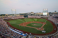 TD Ameritrade Park in Omaha, Nebraska during the 2013 Men's College World Series on June 25, 2013 at . The UCLA Bruins defeated the Bulldogs 8-0, winning the National Championship. (Andrew Woolley/Four Seam Images)