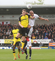 Bolton Wanderers Karl Henry jumps with Burton Albion's Jacob Davenport<br /> <br /> Photographer Mick Walker/CameraSport<br /> <br /> The EFL Sky Bet Championship - Burton Albion v Bolton Wanderers - Saturday 28th April 2018 - Pirelli Stadium - Burton upon Trent<br /> <br /> World Copyright &copy; 2018 CameraSport. All rights reserved. 43 Linden Ave. Countesthorpe. Leicester. England. LE8 5PG - Tel: +44 (0) 116 277 4147 - admin@camerasport.com - www.camerasport.com