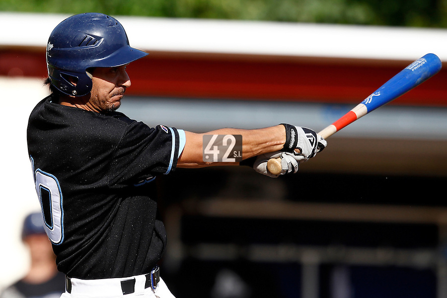 15 July 2011: Samuel Meurant of the Senart Templiers is seen at bat during the 2011 Challenge de France match won 6-5 by the Rouen Huskies over the Senart Templiers at Stade Pierre Rolland, in Rouen, France.