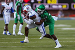 North Texas Mean Green quarterback Will Kuehne (3) in action during the game between the UNT Mean Green and the SMU Mustangs at the Gerald J. Ford Stadium in Fort Worth, Texas.