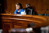 """United States Senator Dianne Feinstein (Democrat of California), Ranking Member, US Senate Judiciary Committee speaks at a US Senate Judiciary Committee Hearing """"to examine COVID-19 fraud, focusing on law enforcement's response to those exploiting the pandemic"""" on Capitol Hill in Washington, DC on June 9, 2020. <br /> Credit: Erin Schaff / Pool via CNP/AdMedia"""