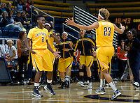 Layshia Clarendon of California celebrates with Afure Jemerigbe of California after making big leads during the game against St. Mary's at Haas Pavilion in Berkeley, California on November 15th, 2012.  California defeated St. Mary's, 89-41.