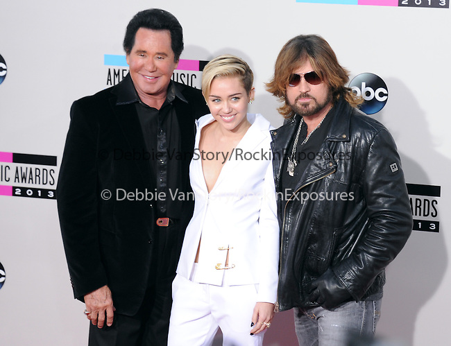 LOS ANGELES, CA - NOVEMBER 24: Wayne Newton,Miley Cyrus and Billy Ray Cyrus arrives at   The 2013 American Music Awards held at Nokia Live in Los Angeles, California on November 24,2013                                                                               © 2013 Hollywood Press Agency