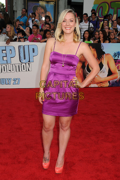 "Kristen Quintrall.""Step Up Revolution"" Los Angeles Premiere held at Grauman's Chinese Theatre, Hollywood, California, USA..July 17th, 2012.full length purple silk satin dress and on hip orange shoes .CAP/ADM/BP.©Byron Purvis/AdMedia/Capital Pictures."