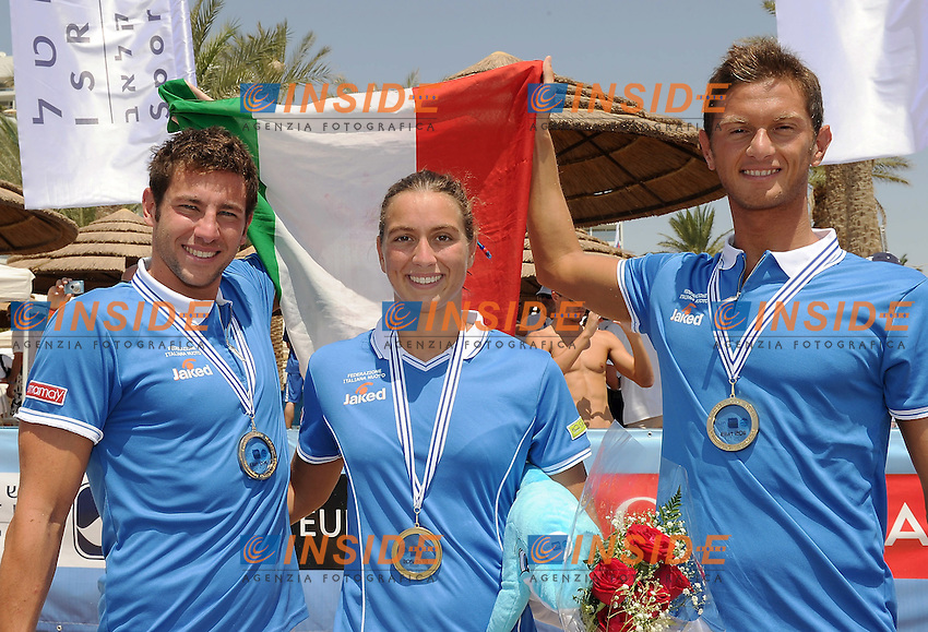 EILAT, Israel (ISR) 06 - 11 September 2011.European Open Water Swimming Championships.day 02.Team Events.Gold medal - Italy .FERRETTI Luca, BRUNI Rachele,.ERCOLI Simone,.Foto Insidefoto Giorgio Scala