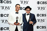 NEW YORK, NY - JUNE 10:  Ari'el Stachel and David Yazbek pose in the 72nd Annual Tony Awards Press Room at 3 West Club on June 10, 2018 in New York City.  (Photo by Walter McBride/WireImage)