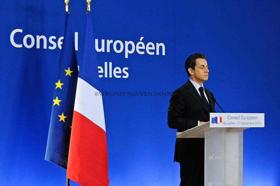 Conférence de presse de Nicolas Sarkozy, président français lors du Sommet europeen, Bruxelles.Press conference of Nicolas Sarkozy, President of France at the European summit in Brussels