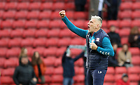 first team coach Leo Percovich celebrates in front of the Middlesbrough fans during Charlton Athletic vs Middlesbrough, Sky Bet EFL Championship Football at The Valley on 7th March 2020