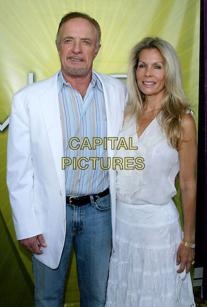 JAMES CAAN & LINDA (WIFE).Las Vegas Cocktail Party held at The Beverly Hilton, Beverly Hills, CA..July 24th, 2005.Photo credit: Jacqui Wong/AdMedia.half length married husband white suit jacket white summer dress ruffles goatee facial hair.www.capitalpictures.com.sales@capitalpictures.com.© Capital Pictures.